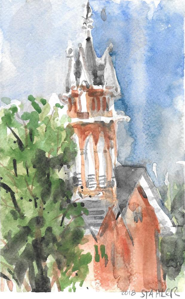Central Ohio ''In Plein Air' painter Jeff Stahler's rendering of the Sanctuary's 1895 bell tower.